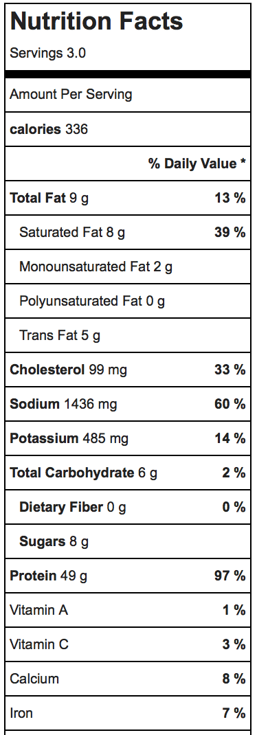 Sauerkraut Chicken Nutrition Facts