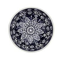 Handmade Ceramic Soup and Cereal Bowl with flowers - 16 different colors and patterns - 6 inch - 16 oz great serving Bowls for Fruit, Salad, Ice Cream, rice mother day gifts (Greek dark blue)