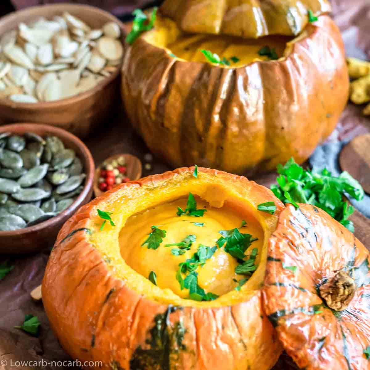 Pumpkin Soup served inside baked pumpkin