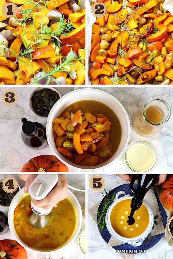 Collage of Step By Step Images about how to make Roasted Low Carb Pumpkin Soup Recipe