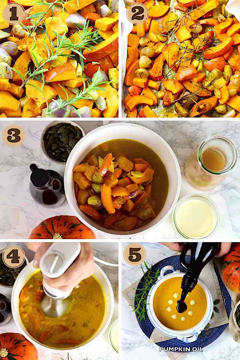 Collage of Step By Step Roasted Low Carb Pumpkin Soup Recipe
