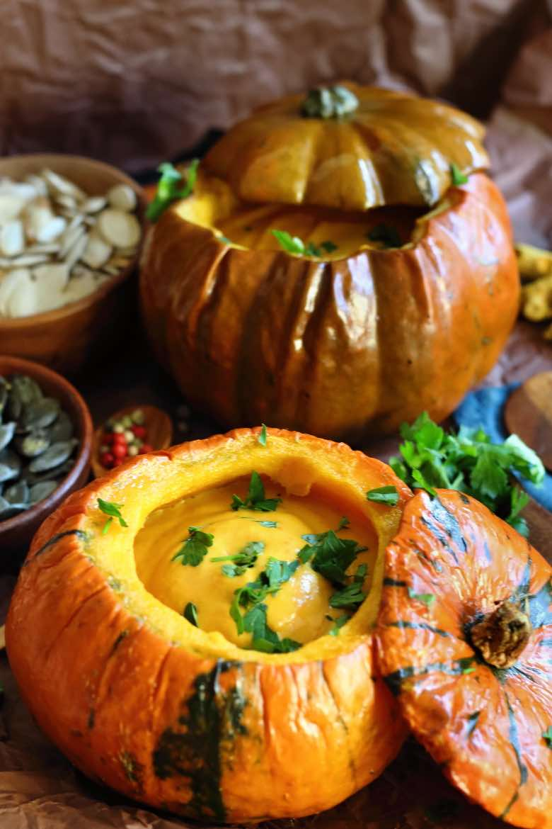 Roasted Low Carb Pumpkin Soup Recipe served in an actual pumpkin #Roasted #LowCarb #Pumpkin #Soup #Recipe #keto #diabetes #paleo #glutenfree