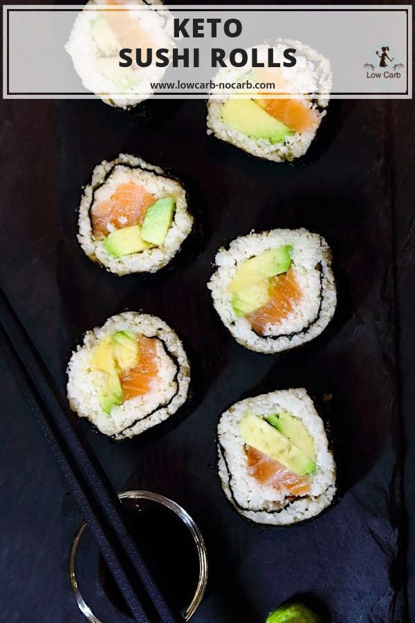 Keto Friendly Sushi Rolls Recipe #keto #lowcarb #sushi #rolls #diabetes #friendly #cauliflower #avocado #homemade