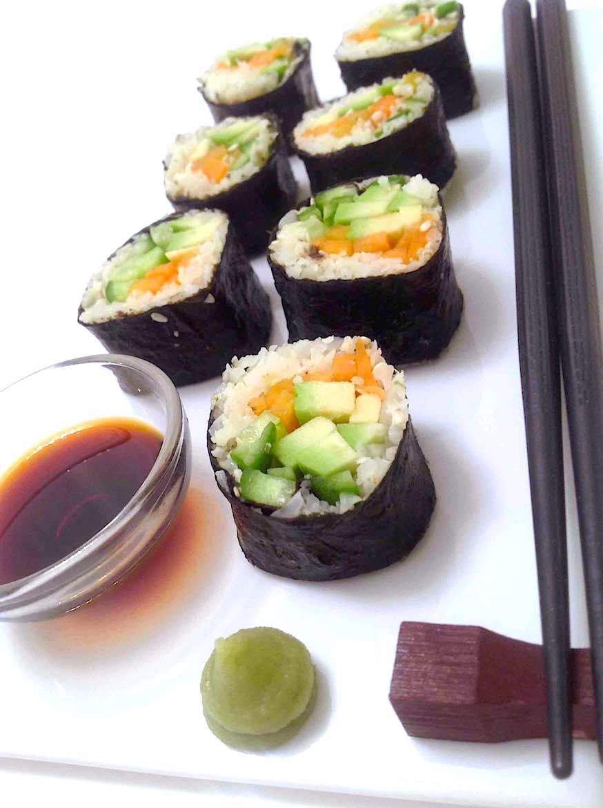 Keto Friendly Sushi Rolls Recipe with avocado and carrots