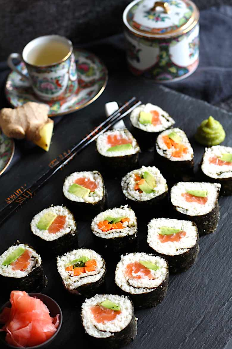 Keto Friendly Sushi Rolls Recipe with Japanese Green Tea
