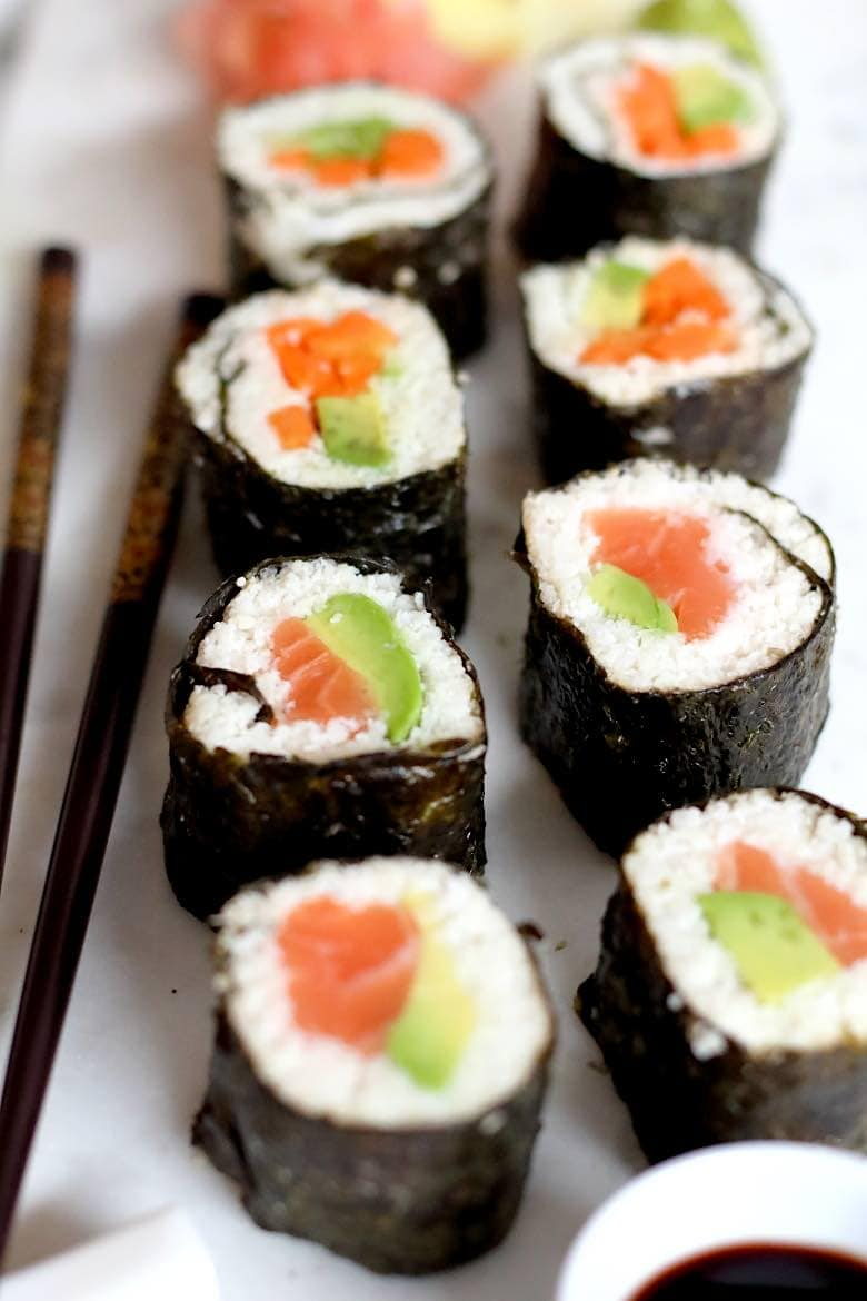 Keto Friendly Sushi Rolls Recipe with salmon and avocado