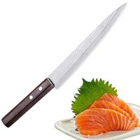 Sashimi Sushi Knife, Pro 8 Inch Chef Knife, Kitchen Knife with German High Carbon Stainless Steel & Gray Leather Wooden Handle Great for Slicing Meat, Fruits, Vegetables