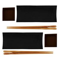 BambooMN Reusable Black Bamboo Sushi Serving Tray Set - 2 Sets