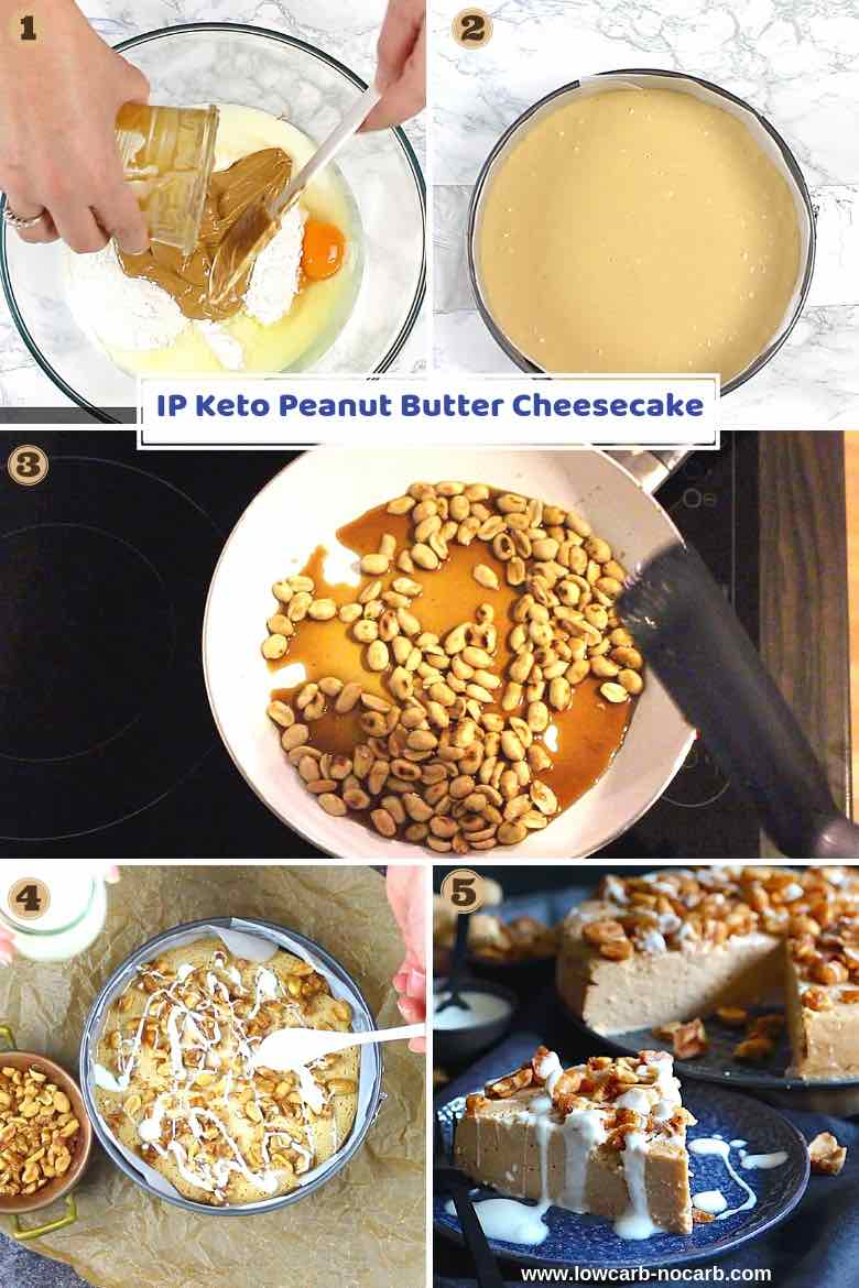 Easy Keto Peanut Butter Cheesecake Instant Pot with step by step Instructions