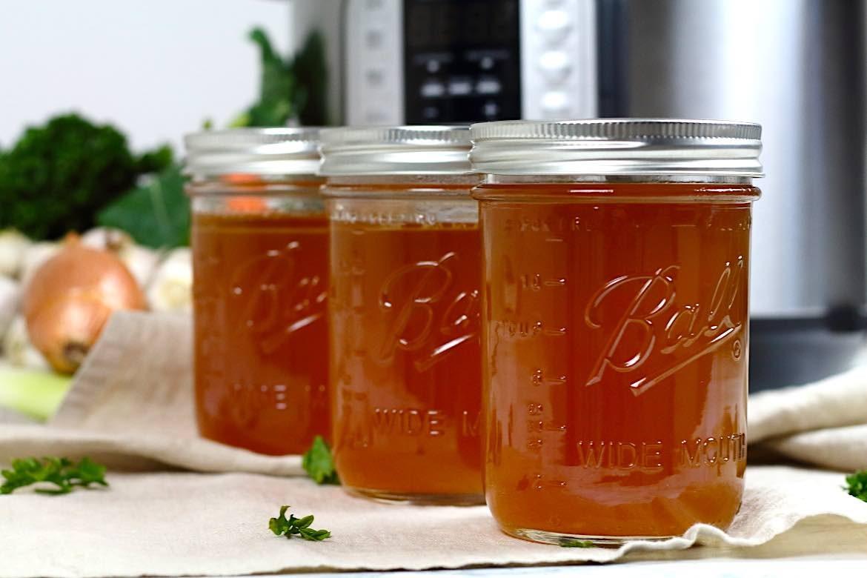 Keto Bone Broth Instant Pot Recipe in a ball jars
