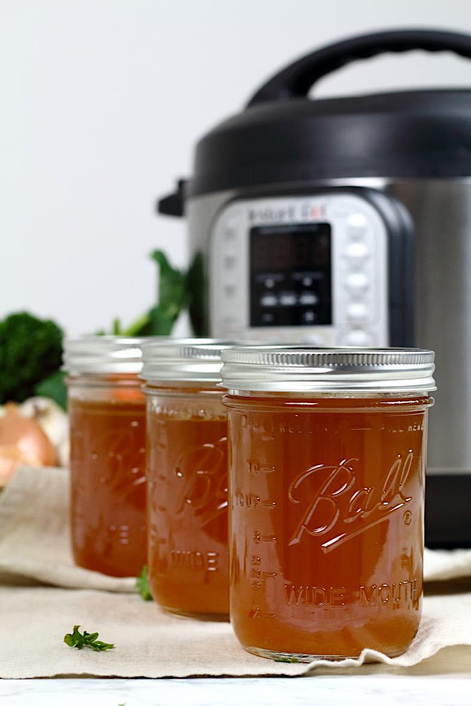 Keto Bone Broth Instant Pot Recipe with 3 mason jars filled