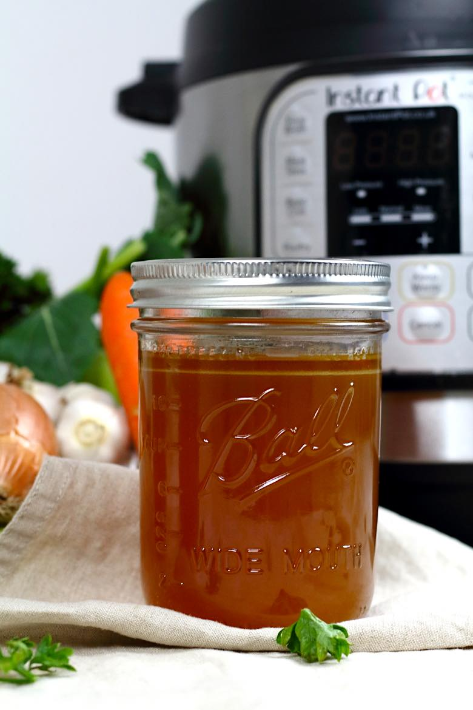 Keto Bone Broth Instant Pot Recipe in a mason jar