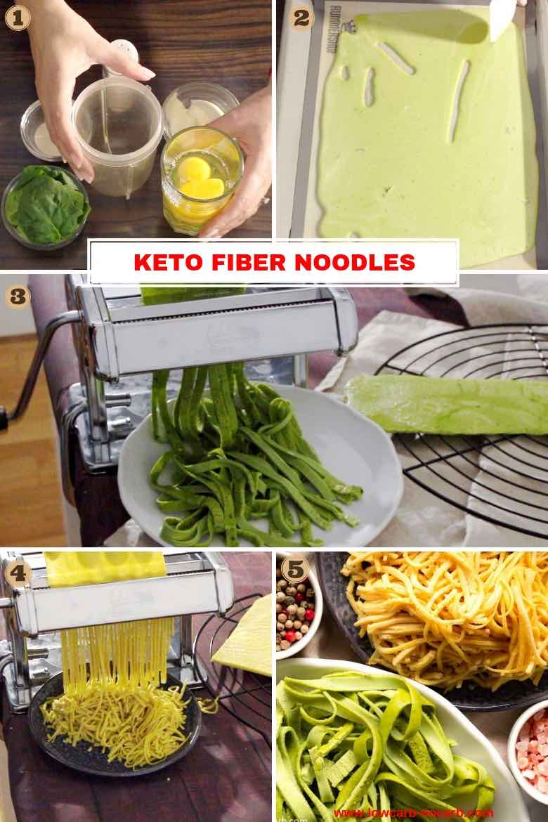 Keto Fiber Noodles Collage with images on how to make