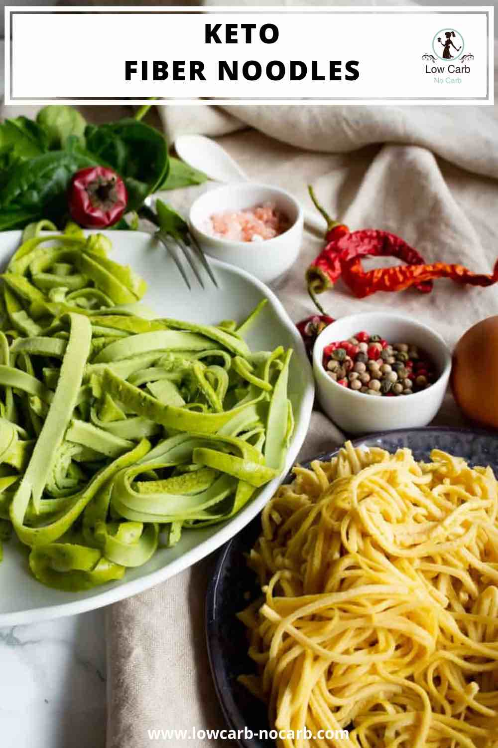 Keto Fiber Noodles with writing on top and green and white noodles