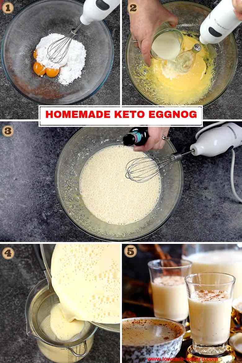 Homemade Almond Milk Keto Eggnog Recipe Step by step photo instructions