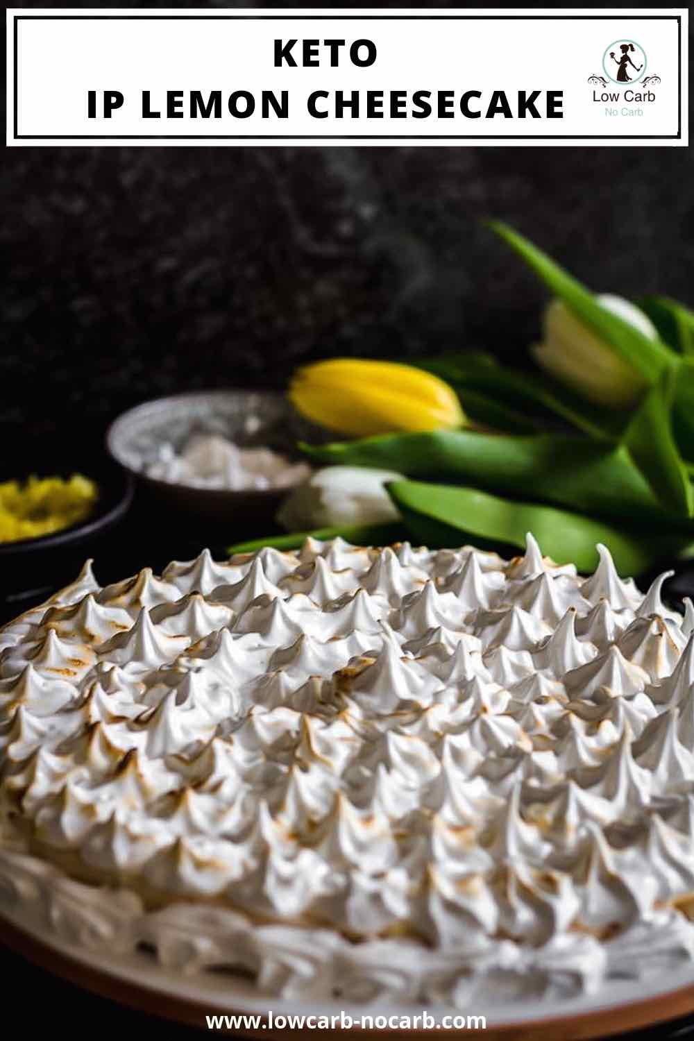 Keto Instant Pot Lemon Cheesecake with Sugar-Free Swiss Meringue Icing