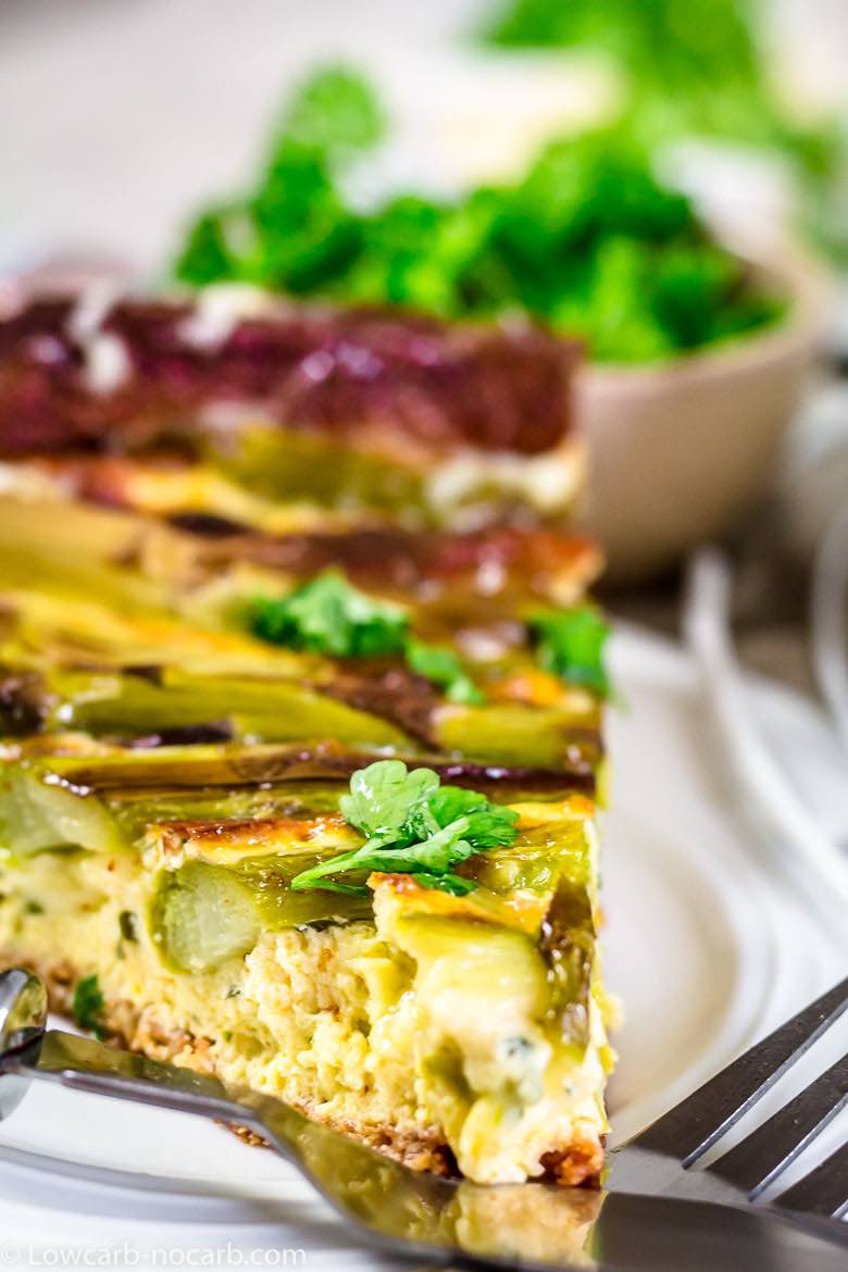 Easy Keto Quiche big slice close up