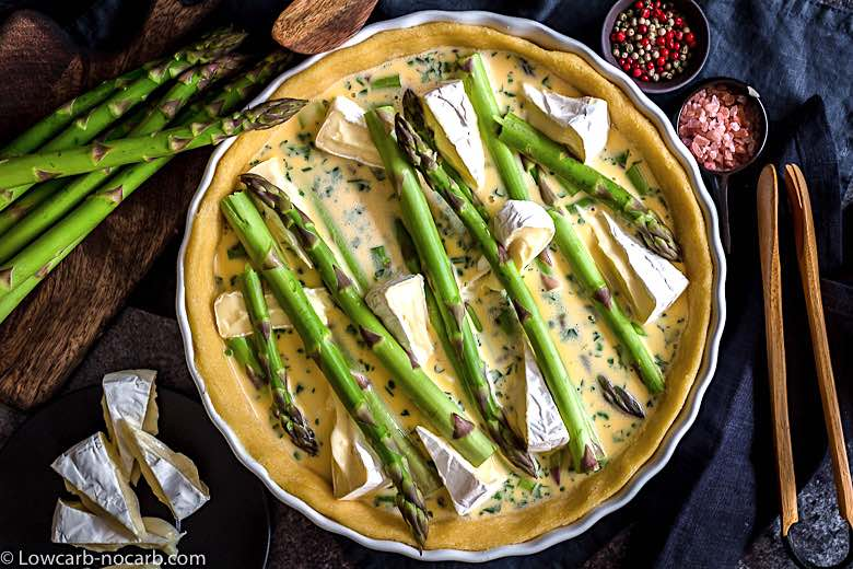 Easy Asparagus Keto Quiche prepared for baking