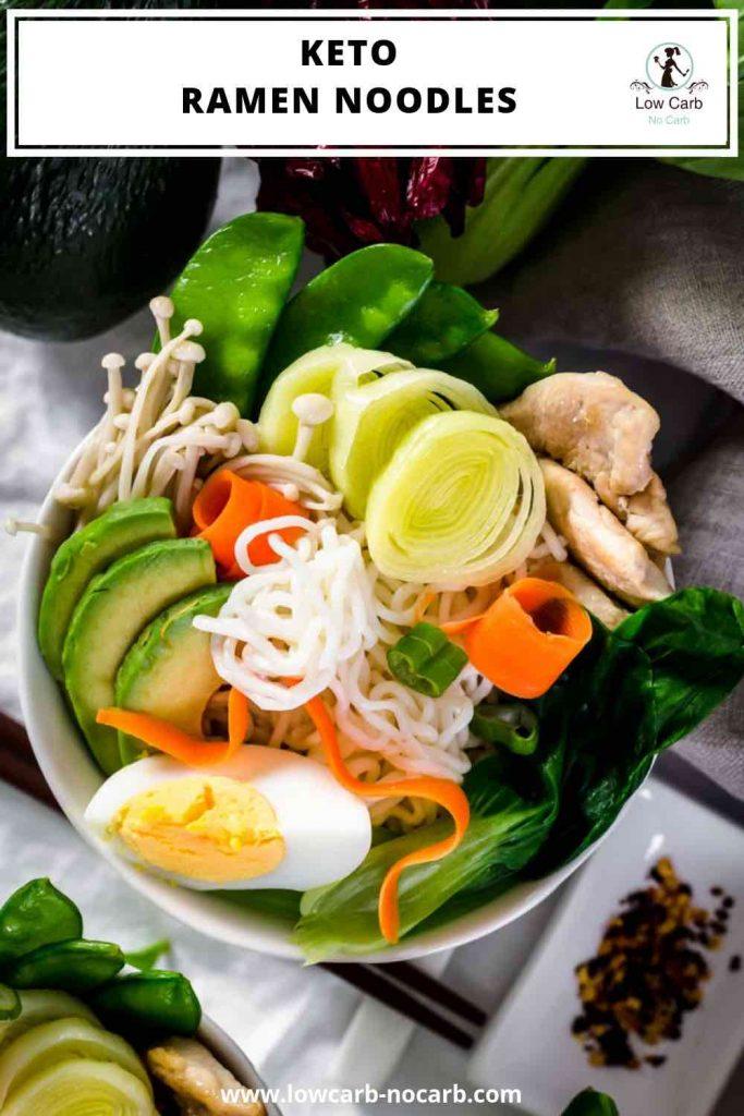 Pin image of Keto Ramen Shirataki Chicken Noodles