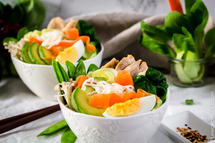Keto Ramen Noodles with avocado and egg