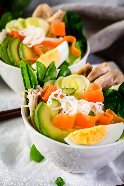 Keto Ramen Chicken Noodles in 2 white bowls