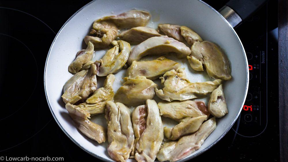 Preparing chicken for Ramen chicken spoup