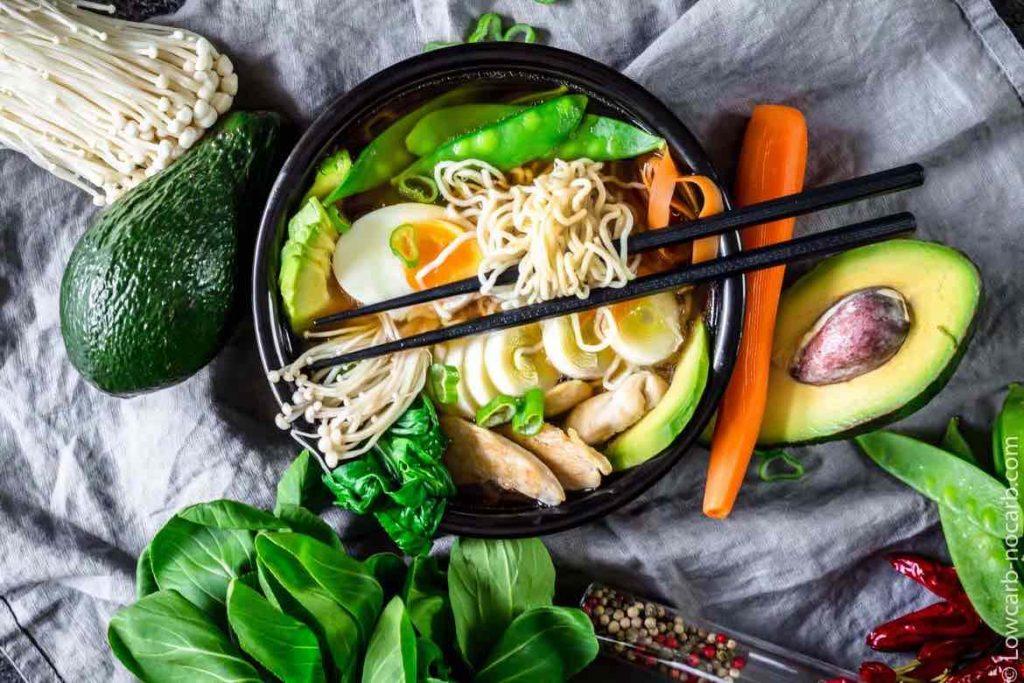 asembled bowl of Keto Ramen Chicken Shirataki Noodles