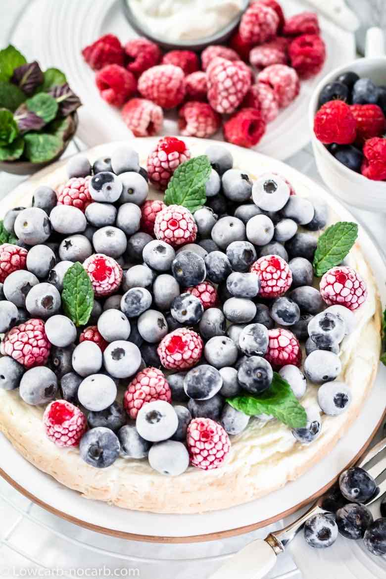 Frosty berries on a cheesecake