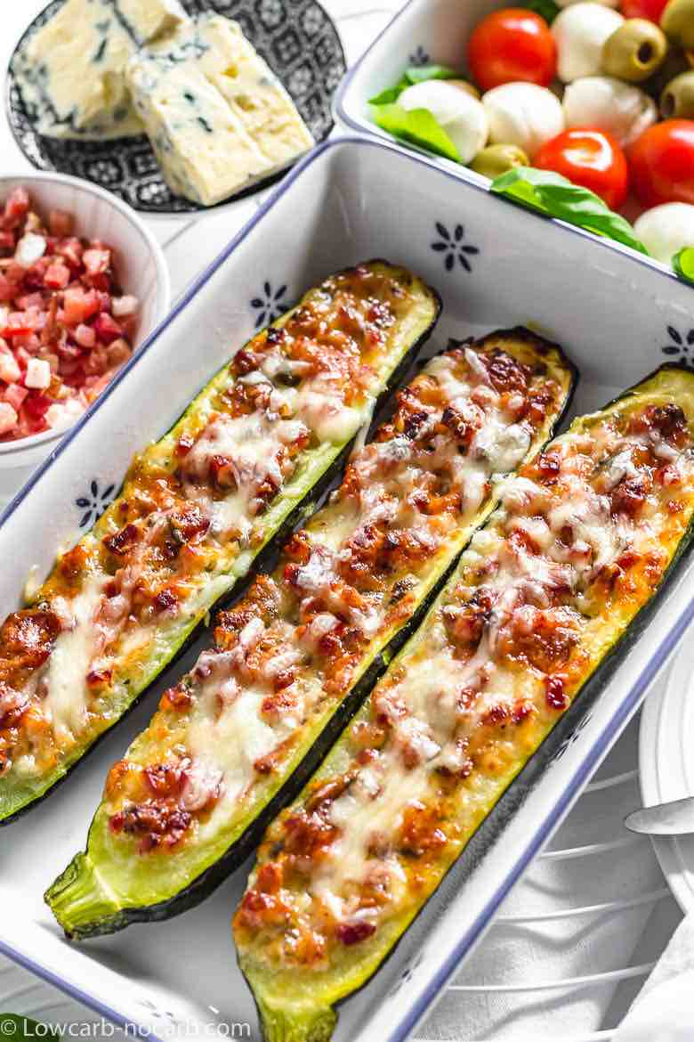 3 Keto Bacon Zucchini Boats in the old grandma casserole