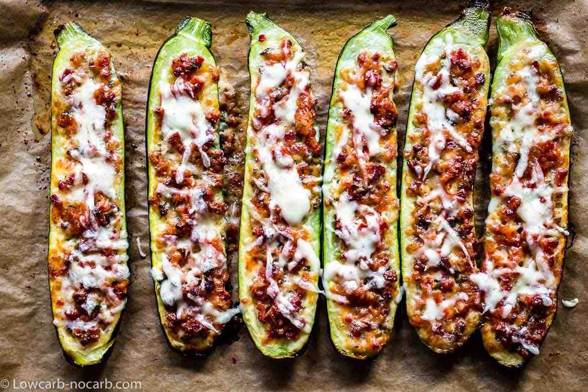 Keto Bacon Zucchini Boats 6 in a row