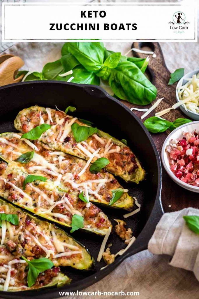 Keto Bacon Zucchini Boats with description written on top