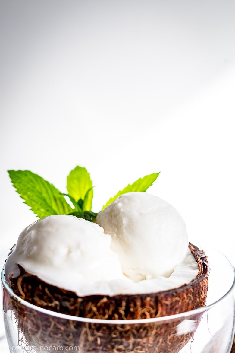 Keto Coconut Ice Cream with a mint leave