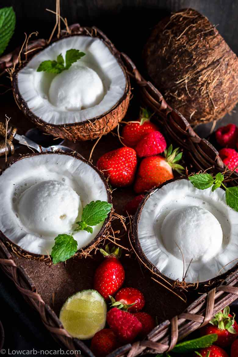 Keto Coconut Ice Cream in a dark wooden basket
