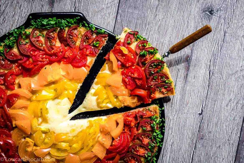 tomato rainbow keto pizza with cheese slice