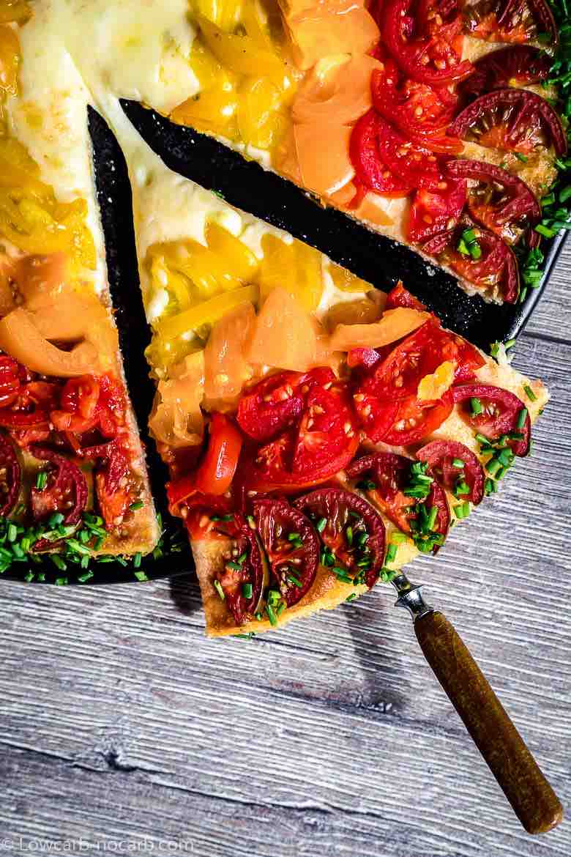 slice of rainbow keto pizza