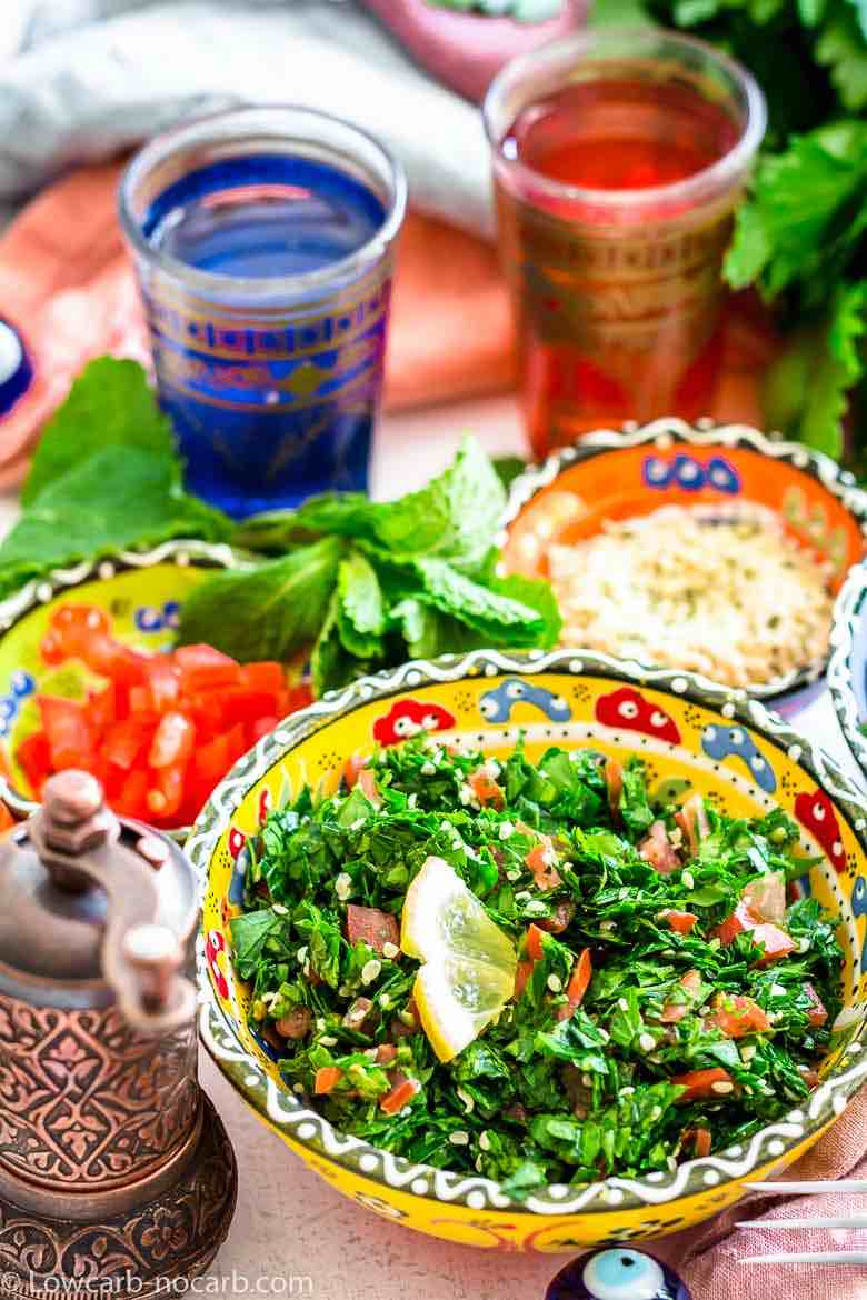 Tabbouleh salad in a yellow bowl