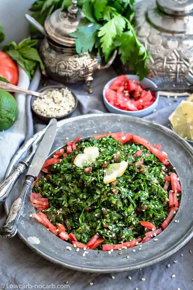 Tabbouleh salad on a silver antique plates