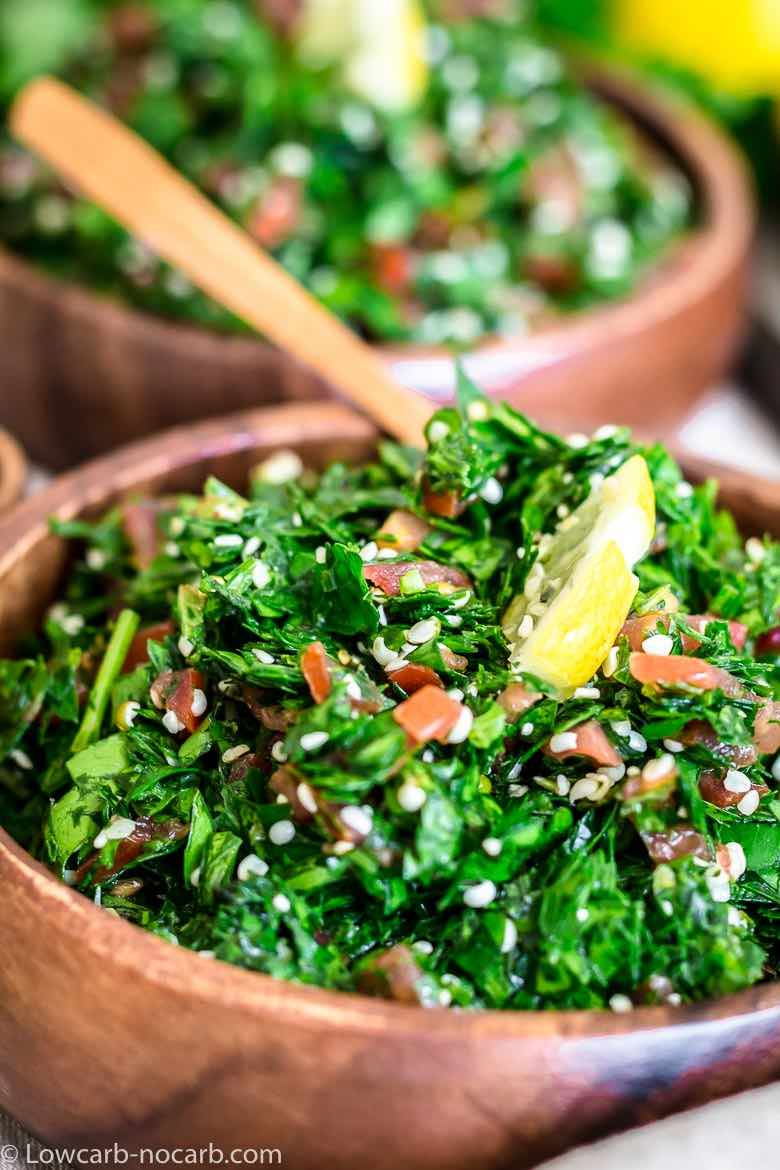 Low carb Tabbouleh in a wooden bowl