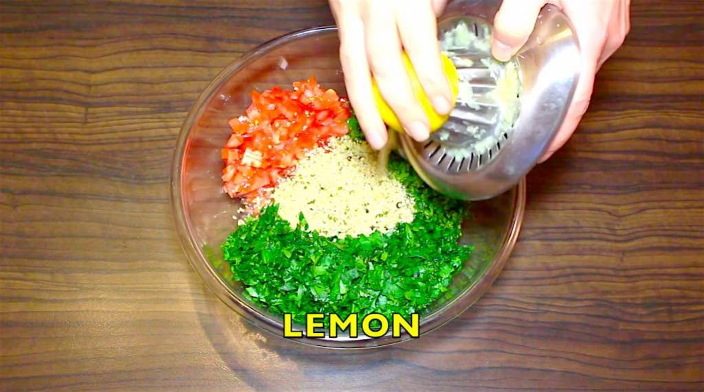 ading lemon to low carb tabbouleh