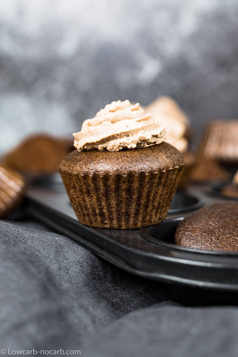 Chocolate Keto Cupcake on a black tray