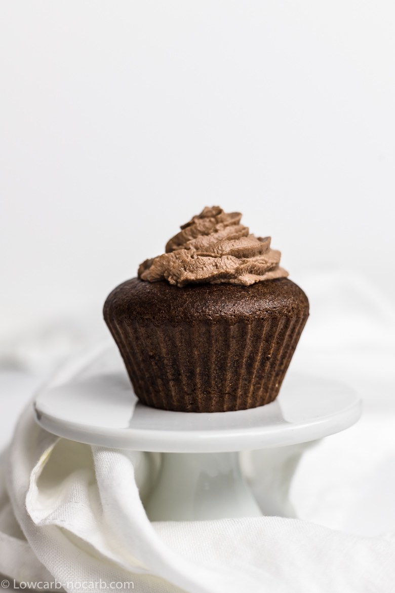 Chocolate Keto Cupcakes on a white stand