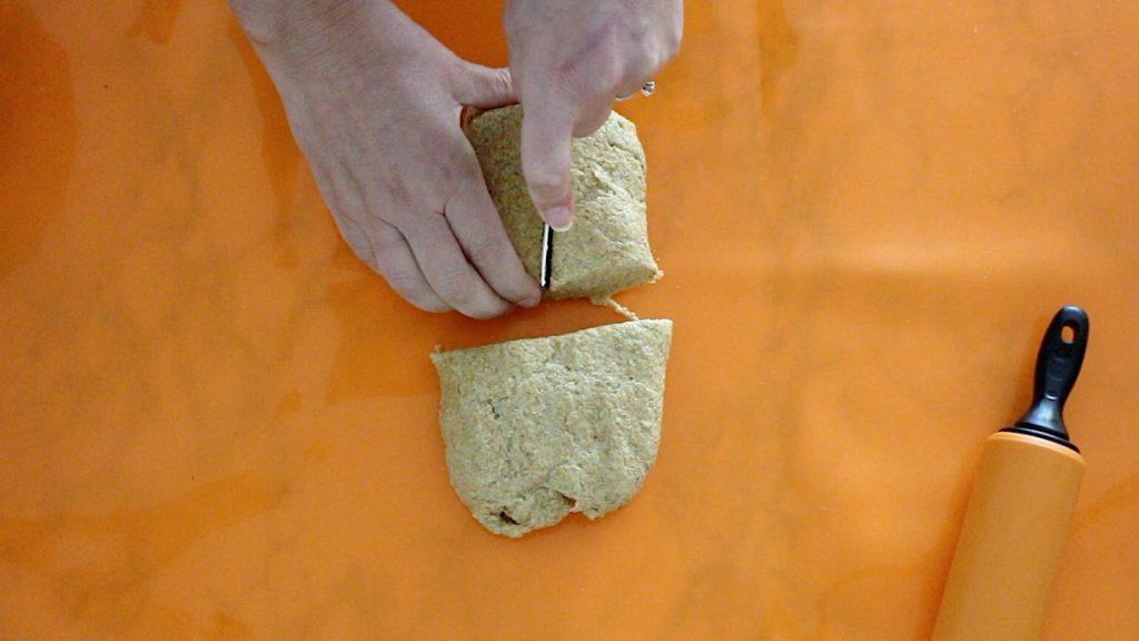 cutting Keto wrap dough