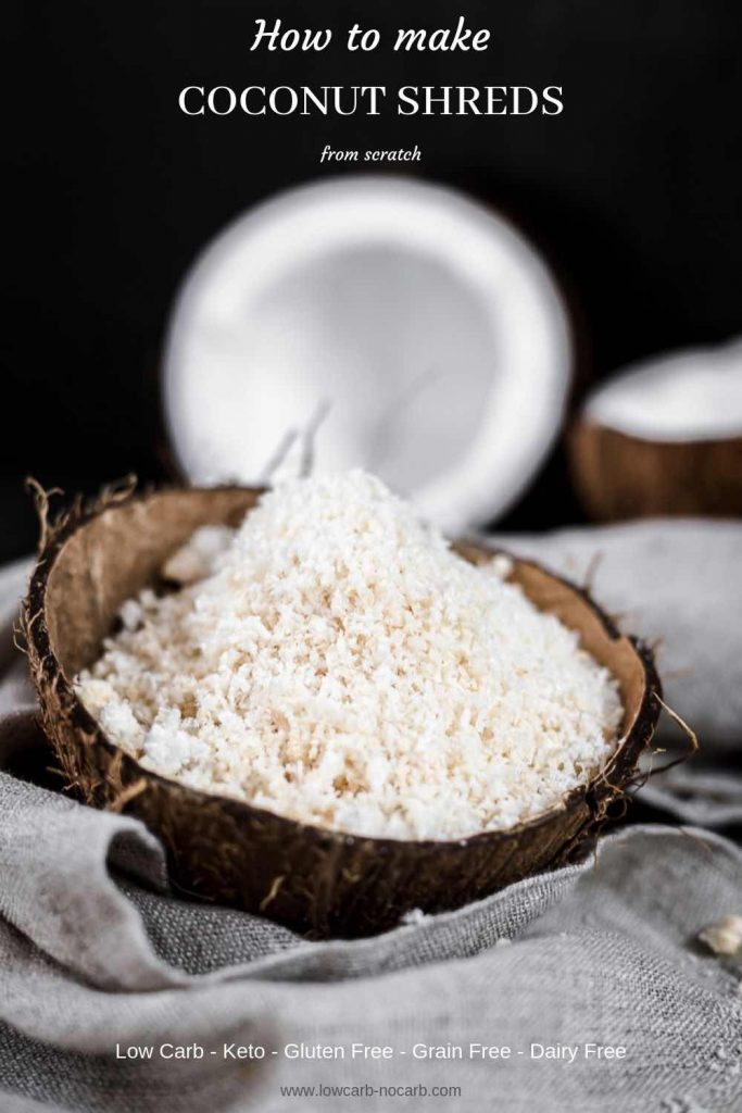 Coconut shreds in a coconut bowl