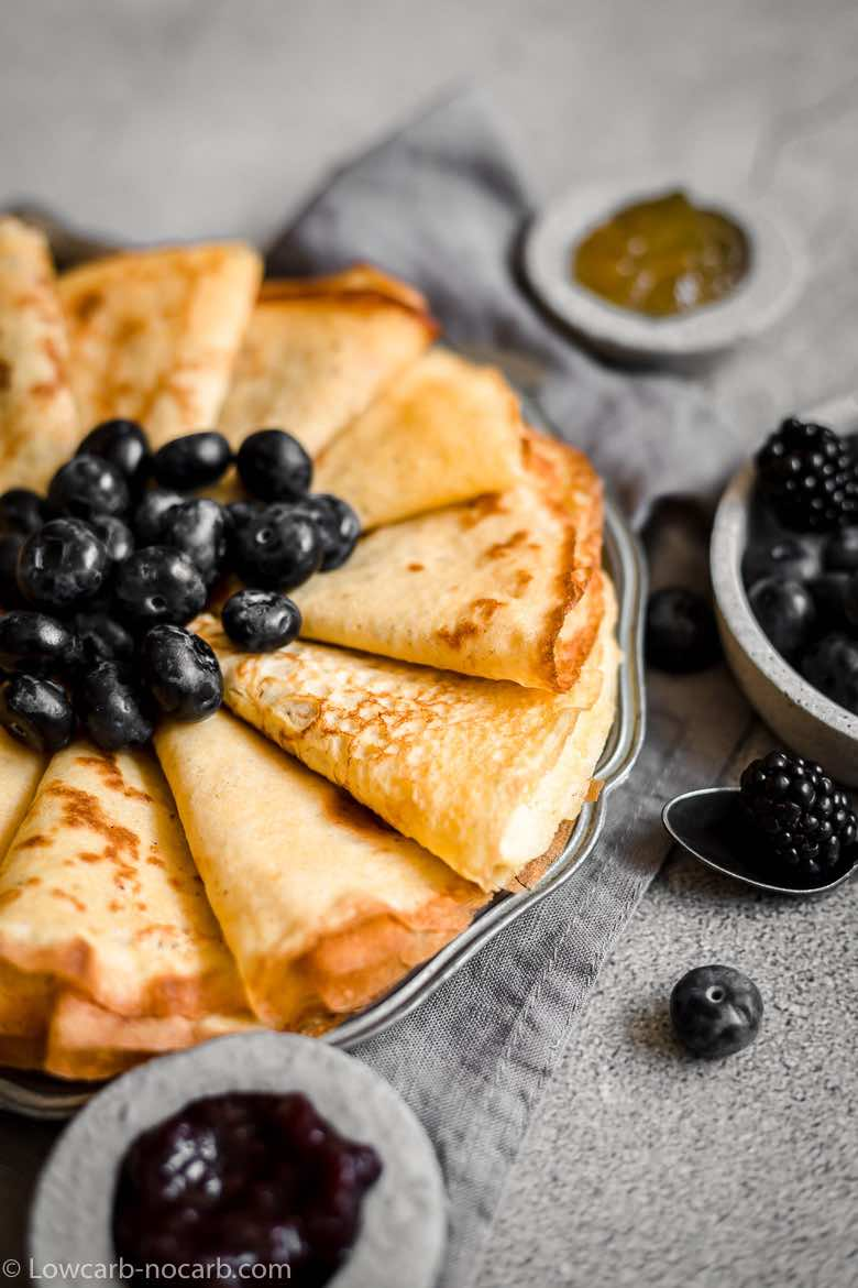 Keto Crepes with blueberries