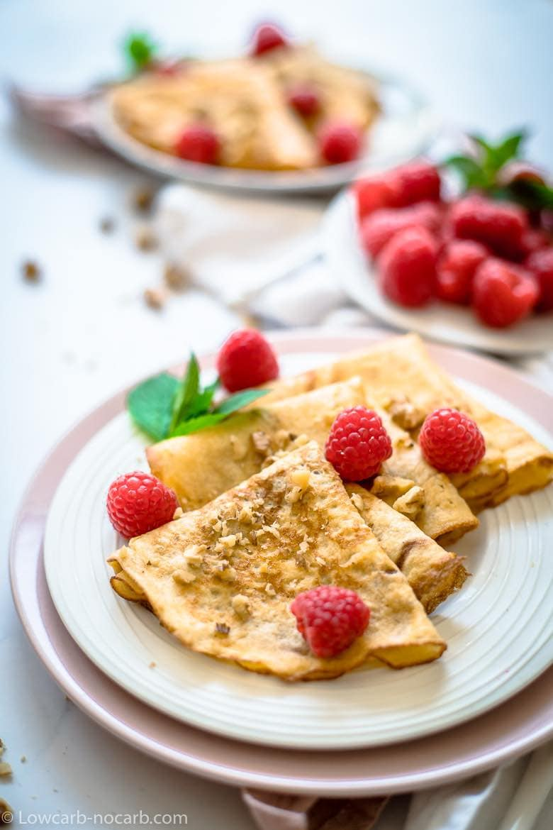 Simple 4 Low Carb Crepes on a white plate