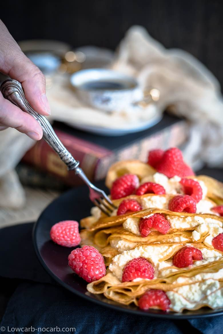 Easy Keto Crepes with raspberries