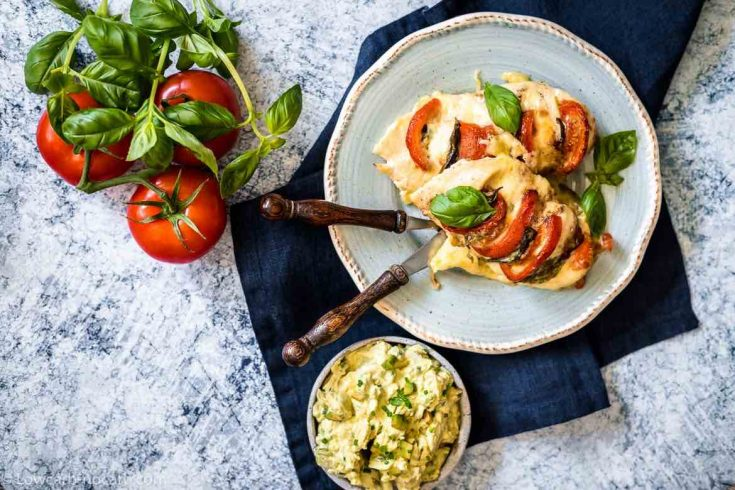 Italian chicken on a light blue plate