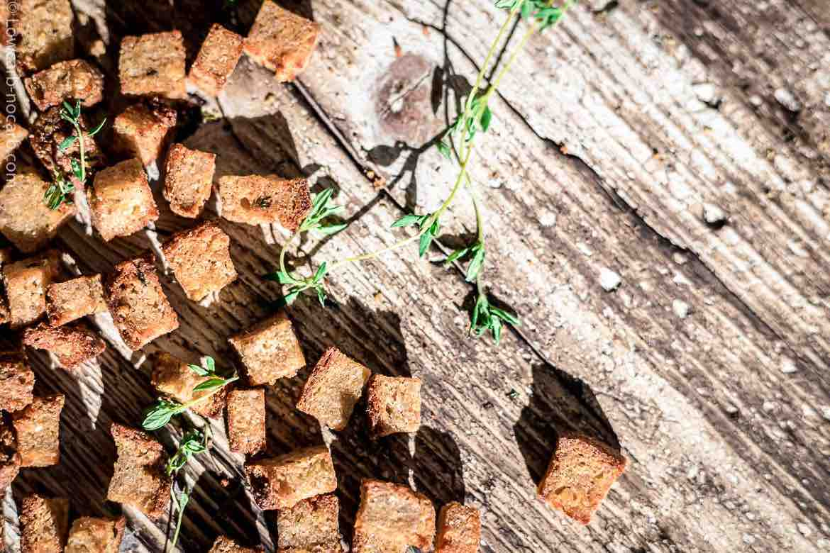 Keto Croutons spread with herbs