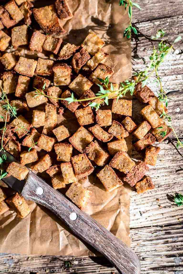 Low Carb Croutons baked on a wood