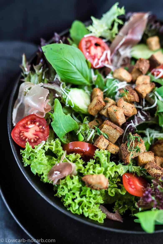 Keto Croutons on a Cesar Salad